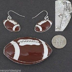 Other - Football Pendant Pin Dangle Earrings Set New